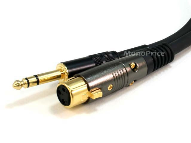 45cm Premier Series XLR Female to 1/4inch TRS Male 16AWG Cable (Gold Plated), XLR-JACK-4767