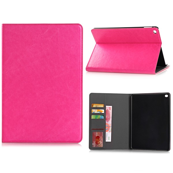 PU Leather Folio Case With Card Slots for iPad Air 2 - Magenta, IPD6-CARD-67194