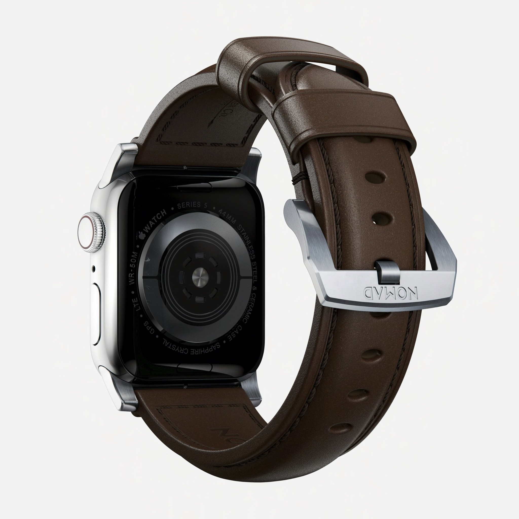 Nomad - Traditional Strap for Apple Watch 42/44mm - Rustic Brown Silver Hardware, NM1A4RST00