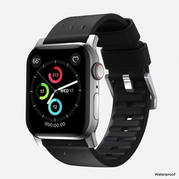 Nomad - Active Strap Pro - Apple Watch 44/42mm - Black - Silver Hardware, NM1A41SNW0