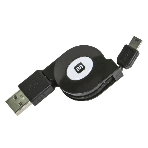 USB 2.0 Retractable Cable - A Male to Mini 5-Pin - 2.5 Ft, 10958