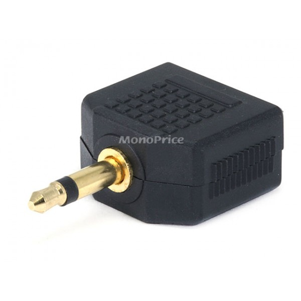 3.5mm Mono Plug to 2 x 3.5mm Stereo Jack Splitter Adaptor - Gold Plated, JACK-7203