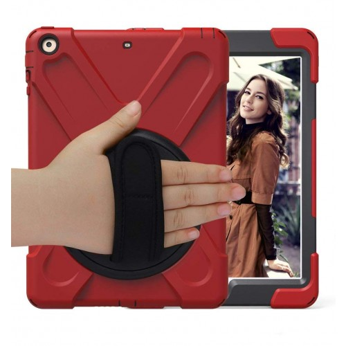 BRAECN Three Layer Heavy Duty Soft Silicone Hard Bumper Case Built-in Stand+Hand Strap+Shoulder Strap Shockproof Durable Rugged Case for iPad 9.7 (2018/2017)  - Red