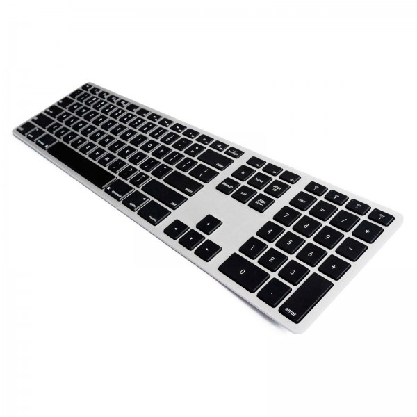 Matias Backlit Wireless Aluminum Keyboard - Silver/Black, FK418BTLSB