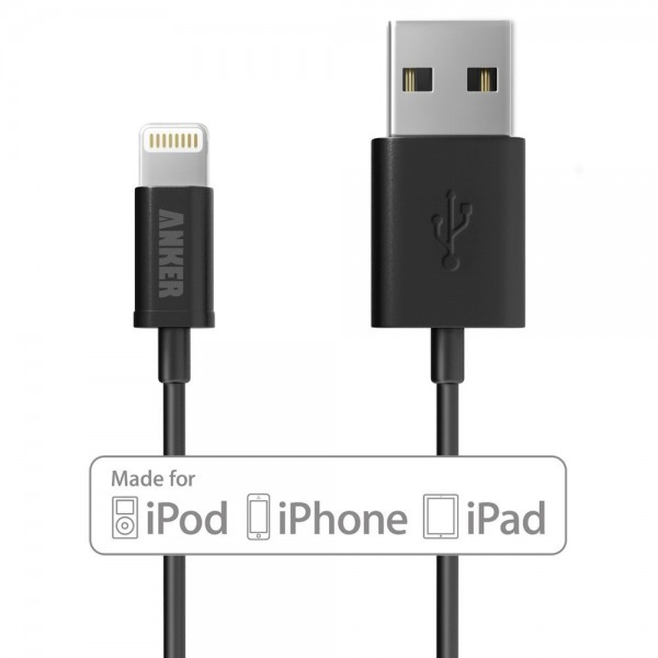Apple MFi Certified Anker Lightning to USB Cable 3ft / 0.9m with Ultra Compact Connector Head for iPhone, iPod and iPad (Black), B00K5NCI98