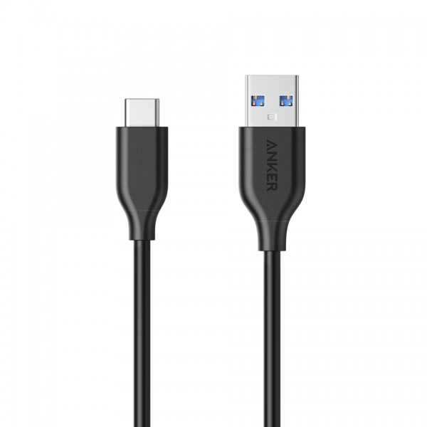 Anker PowerLine USB-C to USB 3.0 Cable, 5000 Bend PVC, 5GBPS, 0.9m - Black, A8163H11