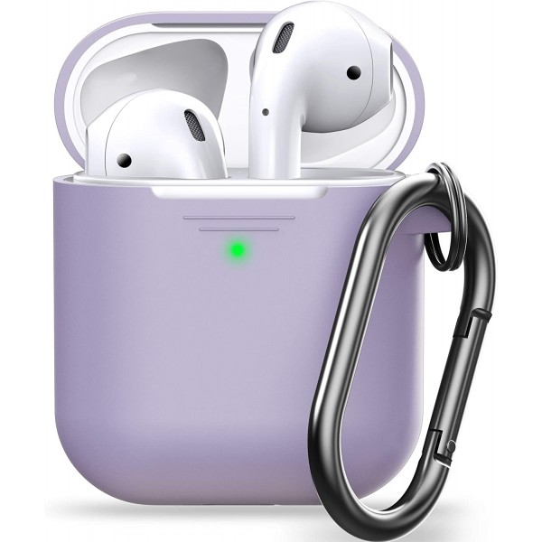 KeyBudz PodSkinz KeyChain Case, Silicone Cover with Carabiner Compatible with AirPods Case 1 & 2 - Lavender, KEY024