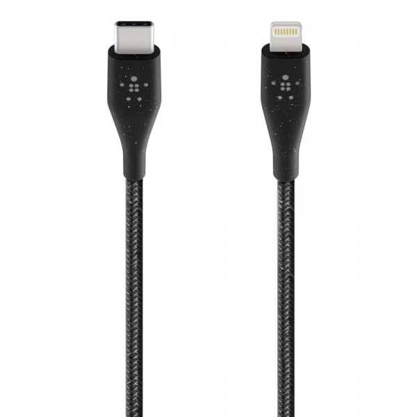 Belkin - DuraTek Plus USB-C to Lightning Cable, 1.2 m - Black, F8J243bt04-BLK