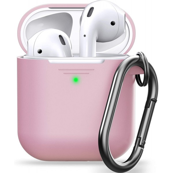 KeyBudz PodSkinz KeyChain Case, Silicone Cover with Carabiner Compatible with AirPods Case 1 & 2 - Blush Pink, KEY023