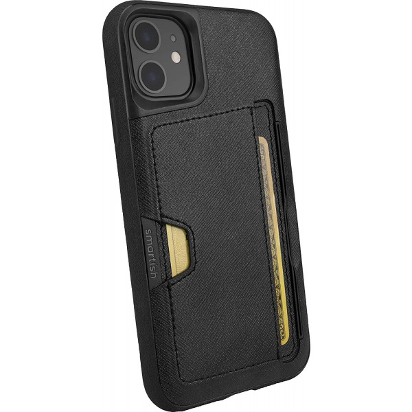 Smartish iPhone 11 Wallet Case Vol. 2 - Credit Card Holder (Silk) - Black Tie Affair, Q19M-BLACK