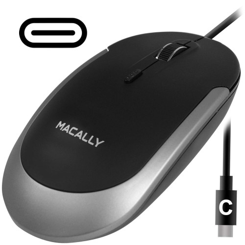 Macally Silent USB Type C Mouse Wired for Apple Mac, Slim & Compact Mice Design & Optical Sensor & DPI Switch 800/1200/1600/2400, Small for Easy Travel - Black