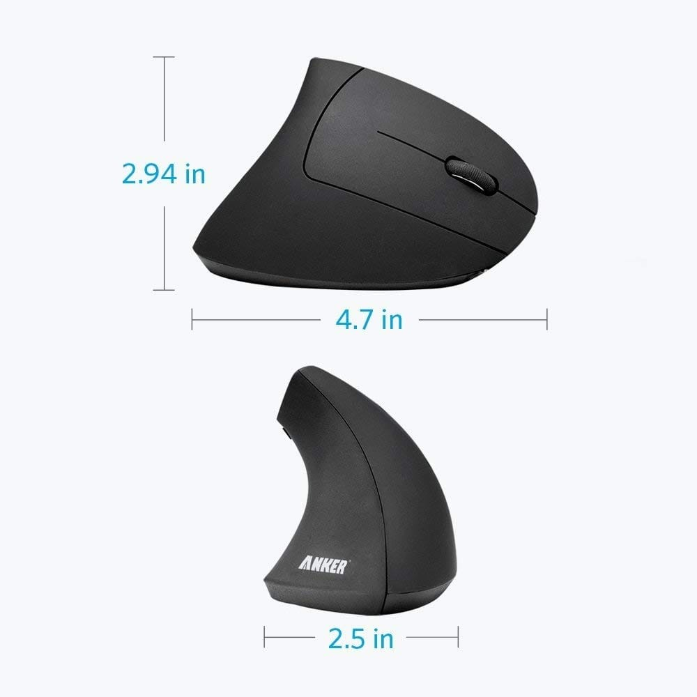 Anker Ergonomic USB 2.4G Wireless Vertical Mouse with 3 Adjustable DPI Levels, A7852011