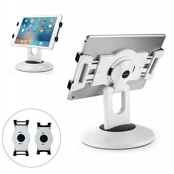 AboveTEK Retail Kiosk iPad Stand, 360° Rotating Commercial Tablet Stand, 6-13.5 iPad Mini Pro Business Tablet Holder, Swivel Design for Store POS Office Showcase Reception Kitchen Desktop - White, B06XB7KWGV