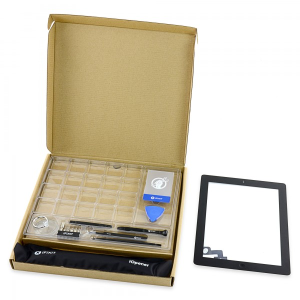 iPad 2 Front Glass/Digitizer Touch Panel Full Assembly, New Fix Kit - Black, IF112-002-3
