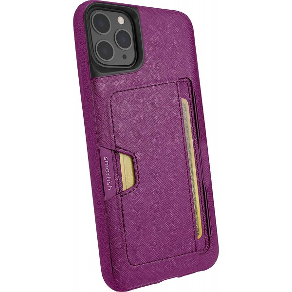 Smartish iPhone 11 Pro Max Wallet Case Vol. 2 - Credit Card Holder (Silk) - Purple Reign, B07T8ZM46D