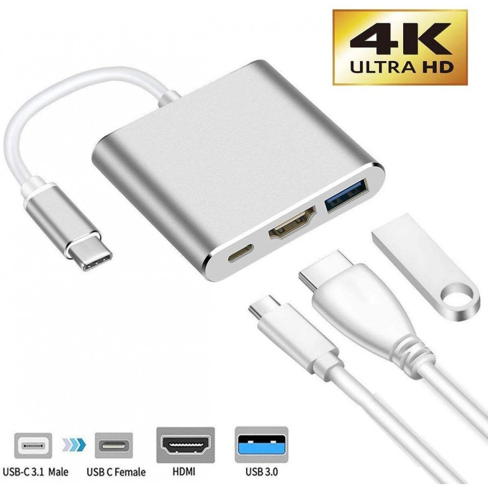 USB C to HDMI Adapter, 3-in-1 4K Type C to HDMI Multiport Converter with USB 3.0 Port and USB C Fast Charging Port Compatible with MacBook Pro/Chromebook Pixel/Projector/Monitor - Silver, B07TYS85GX