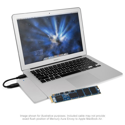 1.0TB OWC Aura Pro 6G SSD + Envoy Kit for MacBook Air 2010+2011 - Complete Solution with Enclosure, OWCS3DAP116KT01