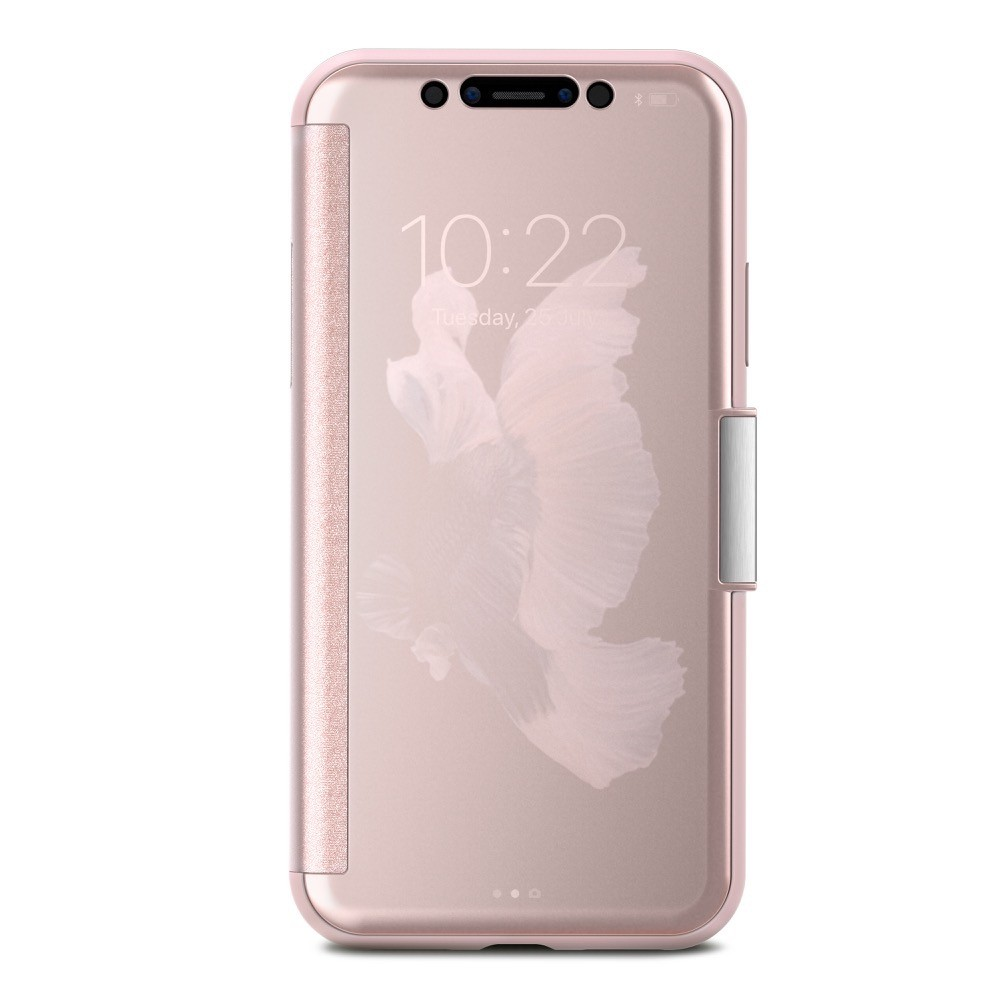 Moshi StealthCover for iPhone X/Xs, Slim Folio Case with Magnetic Clasp - Champagne Pink, 99MO102301