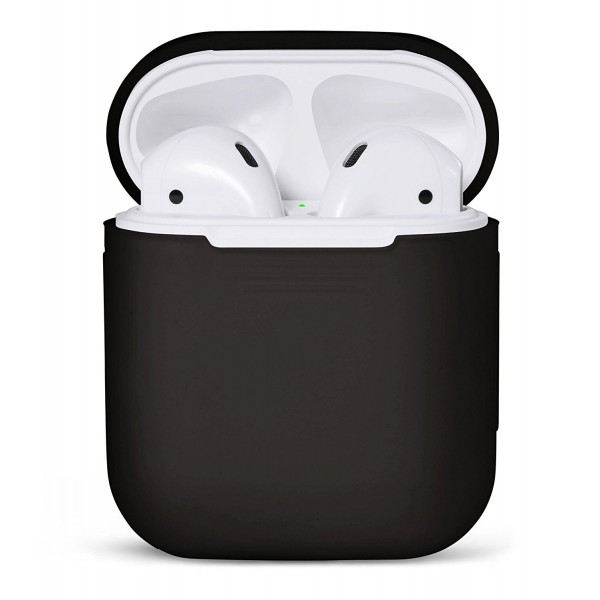 PodSkinz Protective Silicone Cover and Skin for Apple Airpods 1 and Airpods 2 Charging Case - Black, B01MYBEYE8