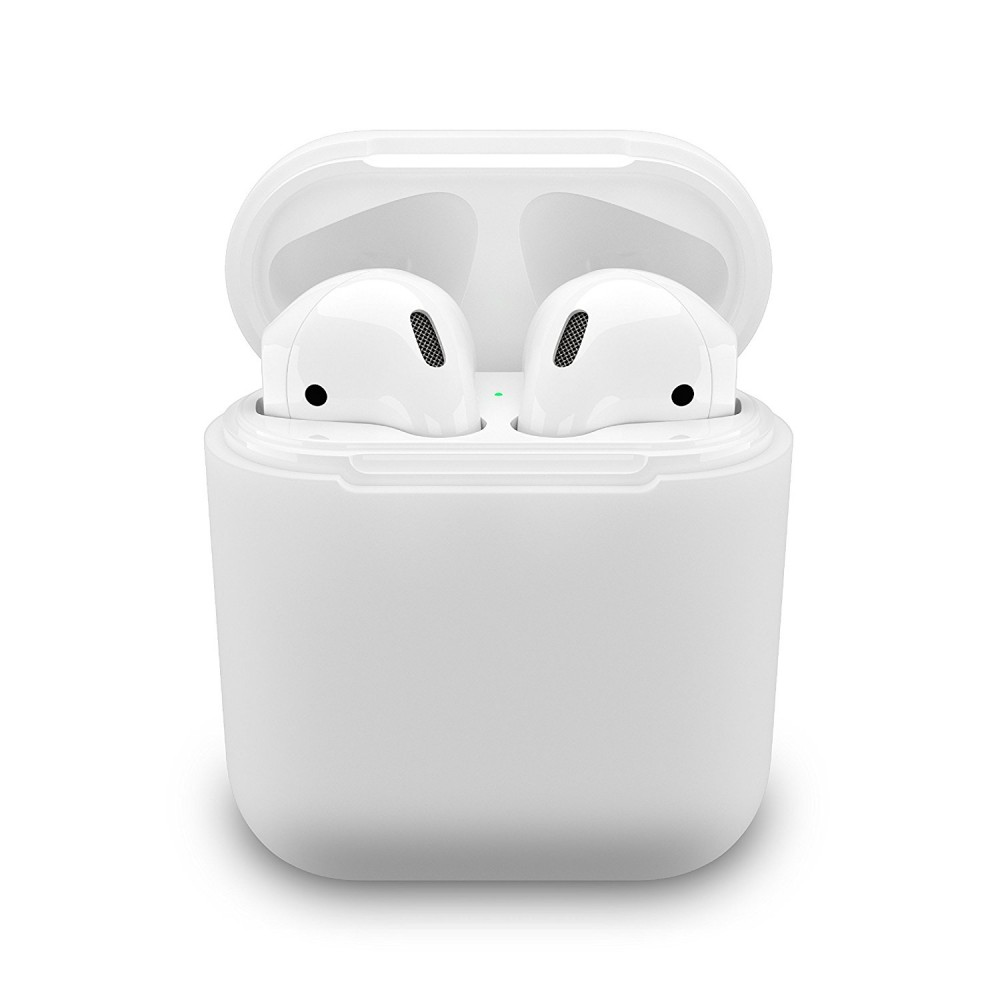 PodSkinz Protective Silicone Cover and Skin for Apple Airpods 1 and Airpods 2 Charging Case - White, B01NCZ586V