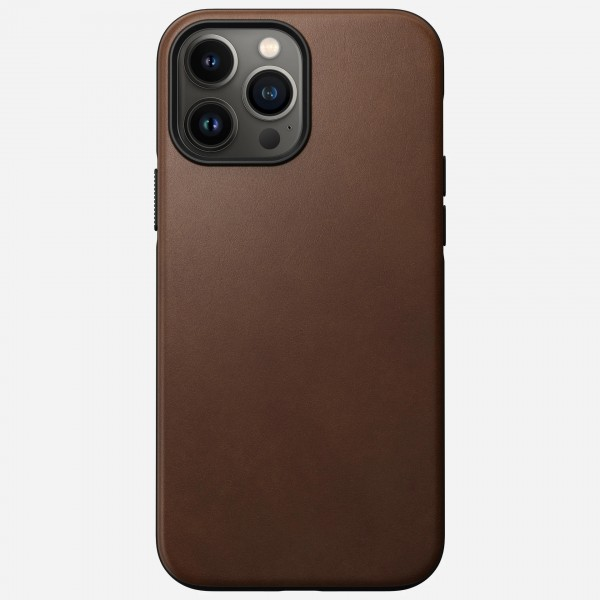 Nomad Modern Leather Case For iPhone 13 Pro Max - Rustic Brown, NM01059585