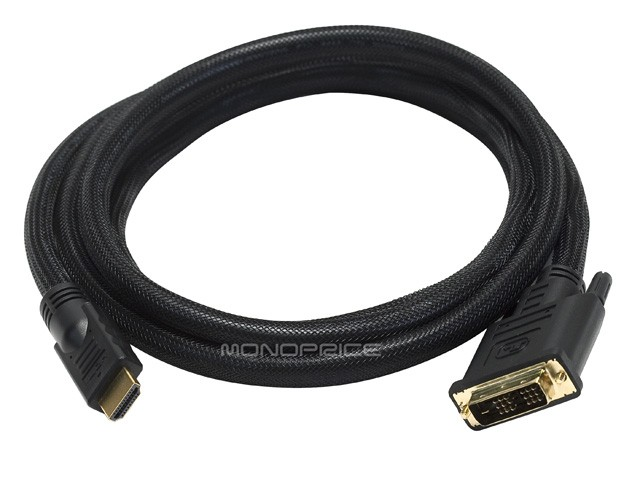 1.8m 24AWG CL2 High Speed HDMI to DVI Adapter Cable w / Net Jacket - Black, HDMI-DVI-2218
