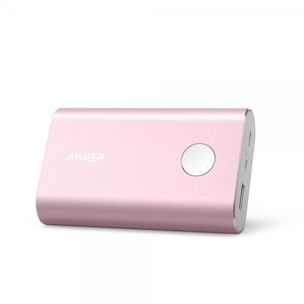 Anker PowerCore+ 10050: The World's Smallest 10000mAh Portable Charger with Premium Aluminum Shell and Qualcomm Certified Quick Charge 2.0 Technology - Pink, A1311H51