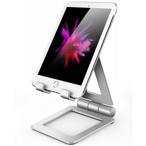 Hi-Tech Wireless Adjustable iPad Stand, Tablet Stand Holders, Cell Phone Stands, iPhone Stand, Nintendo Switch Stand, iPad Pro Stand, iPad Mini Stands and Holders for Desk (4-13 inch) - Silver