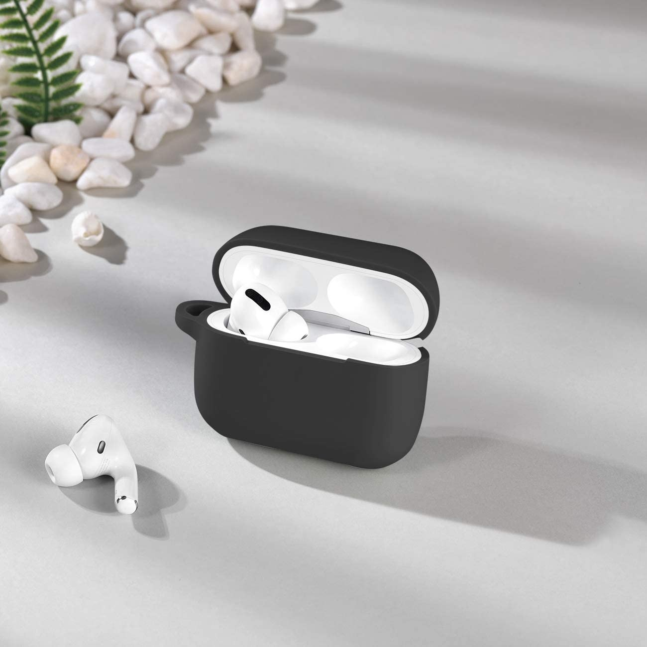 Wepro Shockproof Silicone Protective Skin with Keychain for AirPods Pro - Black, ZF-0084