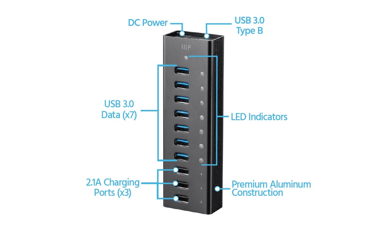 Monoprice Heavy Duty 7-Port USB 3.0 Hub with 3 Charging Ports, With AC Adapter - Black, 35913