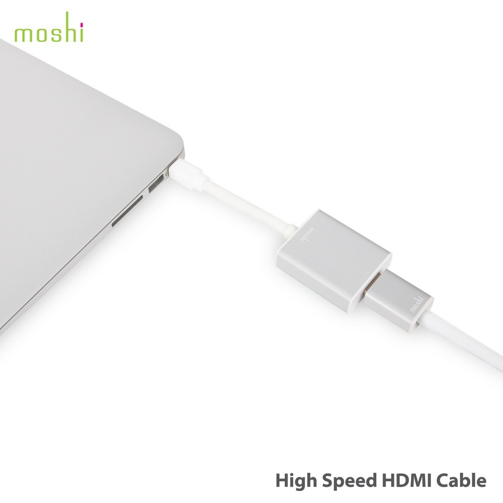 Moshi High Speed Thin HDMI Cable with Ultra HD (4K) support - 10.2Gbps transfer rate - 2M/White, MOSH-HDMI-CAB