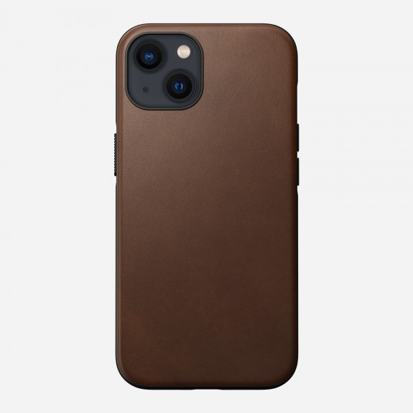 Nomad Modern Leather Case For iPhone 13 - Rustic Brown, NM01056485