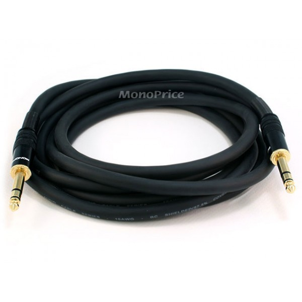 3m Premier Series 1/4inch (TRS or Stereo Phono) Male to Male 16AWG Cable (Gold Plated), TRS-4794