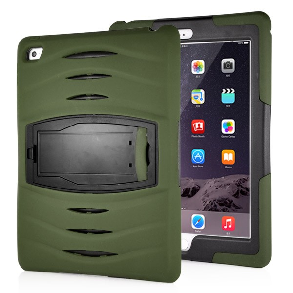 Shockproof Hybrid Stand Case for iPad Air 2 - Army Green, IPD6-RUG-67839