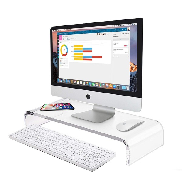 Premium Acrylic Monitor Stand Riser Space Saving Computer Desk Shelf Organizer for Laptops, iMac, Printers and Keyboards, B07MXW8288