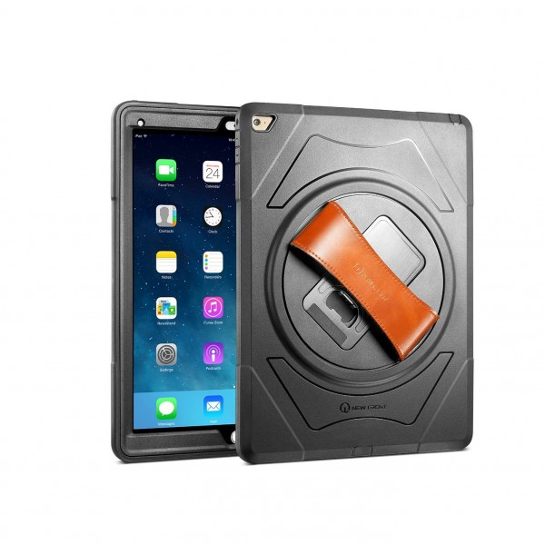 """New Trent Gladius Pro 12.9"""" Rugged iPad Pro Case with built-in Screen Protector and Rotating Kickstand and Hand Strap, NT612GR"""