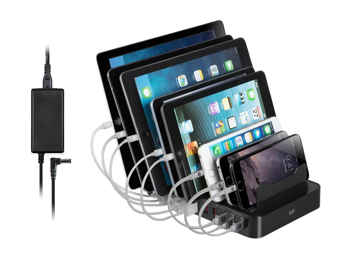 **DISCONTINUED** Monoprice 10-Port 12A USB Smart Charger Station Dock, 30540