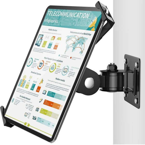 AboveTEK Tablet Wall Mount - Fits 7 to 11 Inch Tablets, Anti Theft Security Lock and Key - Articulating Swivel Holder for Portrait and Landscape - Black, TH-248B