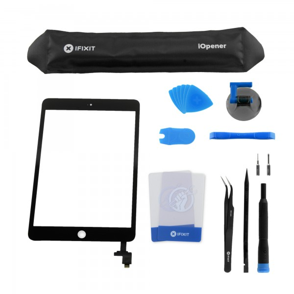 iPad mini 3 Front Glass/Digitizer Touch Panel, All-New, Fix Kit - Black, IF277-001-9