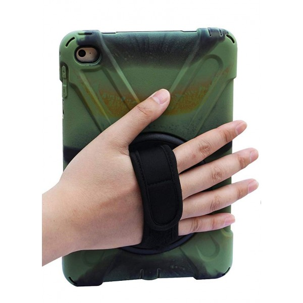 BRAECN for iPad Mini4 Shockpoof Case Three Layer Drop Protection Rugged Protective Heavy Duty iPad Case With a 360 Degree Swivel Stand/a Hand Strap and a Shoulder Strap for iPad Mini 4 Case - Camo, B073B4RW9V