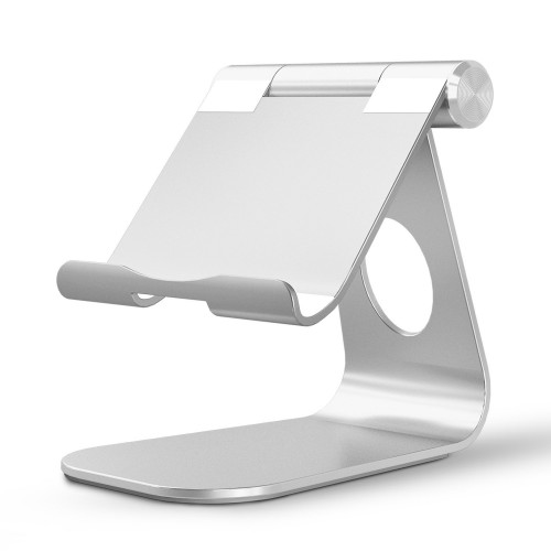 OMOTON Multi-Angle Aluminum Stand, with Portable Adjustable Charging Dock (Up to 12.9 inch) - Silver