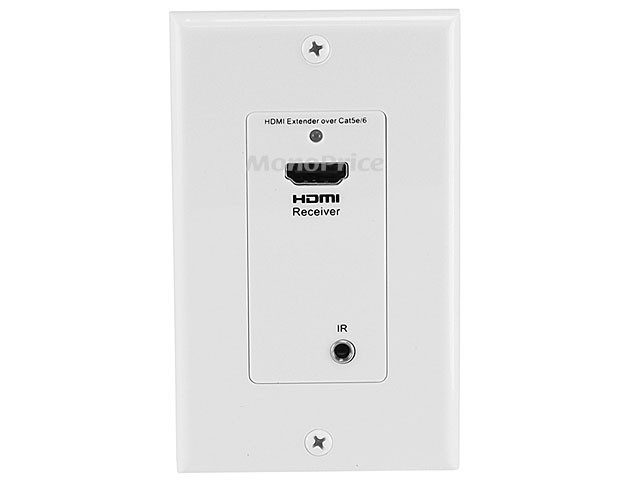 HDMI Over CAT5E / CAT6 Extender Wall Plate (Pair) w/ Built-In Backward IR Channel - Single Port (1P) - White, WALL-8008