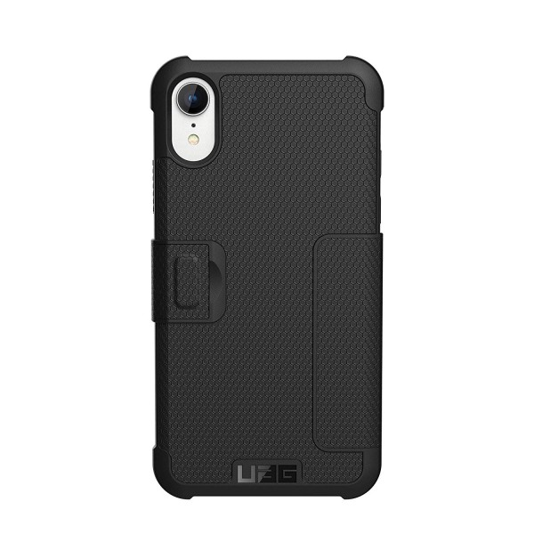 Urban Armor Gear iPhone XR Metropolis Feather-Light Rugged Folio Military Drop Tested iPhone Card Case - Black, 111096114040