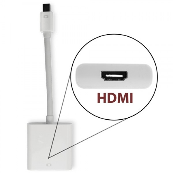 NewerTech Mini DisplayPort & Thunderbolt to HDMI Video Adapter. Premium Quality, Matches Apple White, NWTCBLMDPHDMI