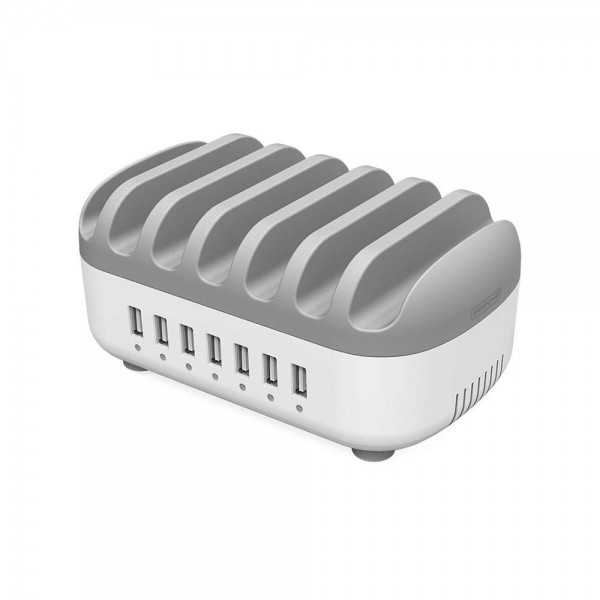 Ntonpower 7 Ports Charging Station for Multiple Devices, USB Fast Charging Dock - Grey, NUK-7P