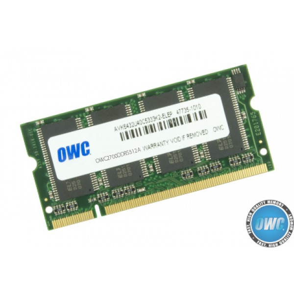 512MB PC2700 DDR 333MHz CL 2.5 200 Pin Low-Profile SO-DIMM, OWC2700DDRS512A