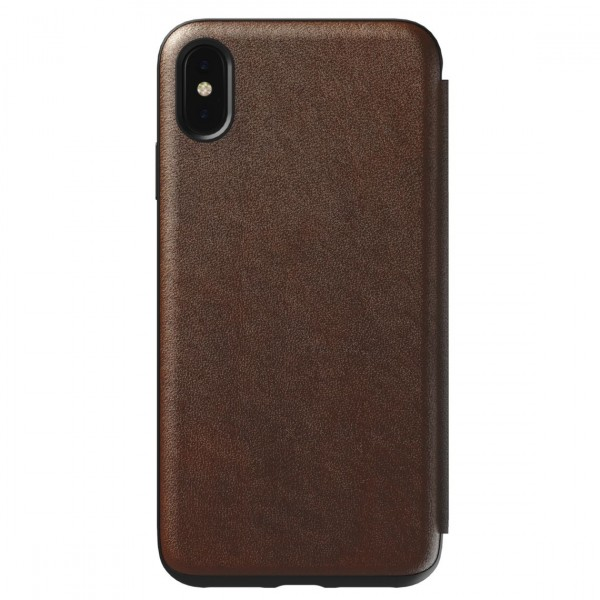 Nomad Horween Leather Rugged Folio for iPhone XS Max - Rustic Brown, NM21TR0H00