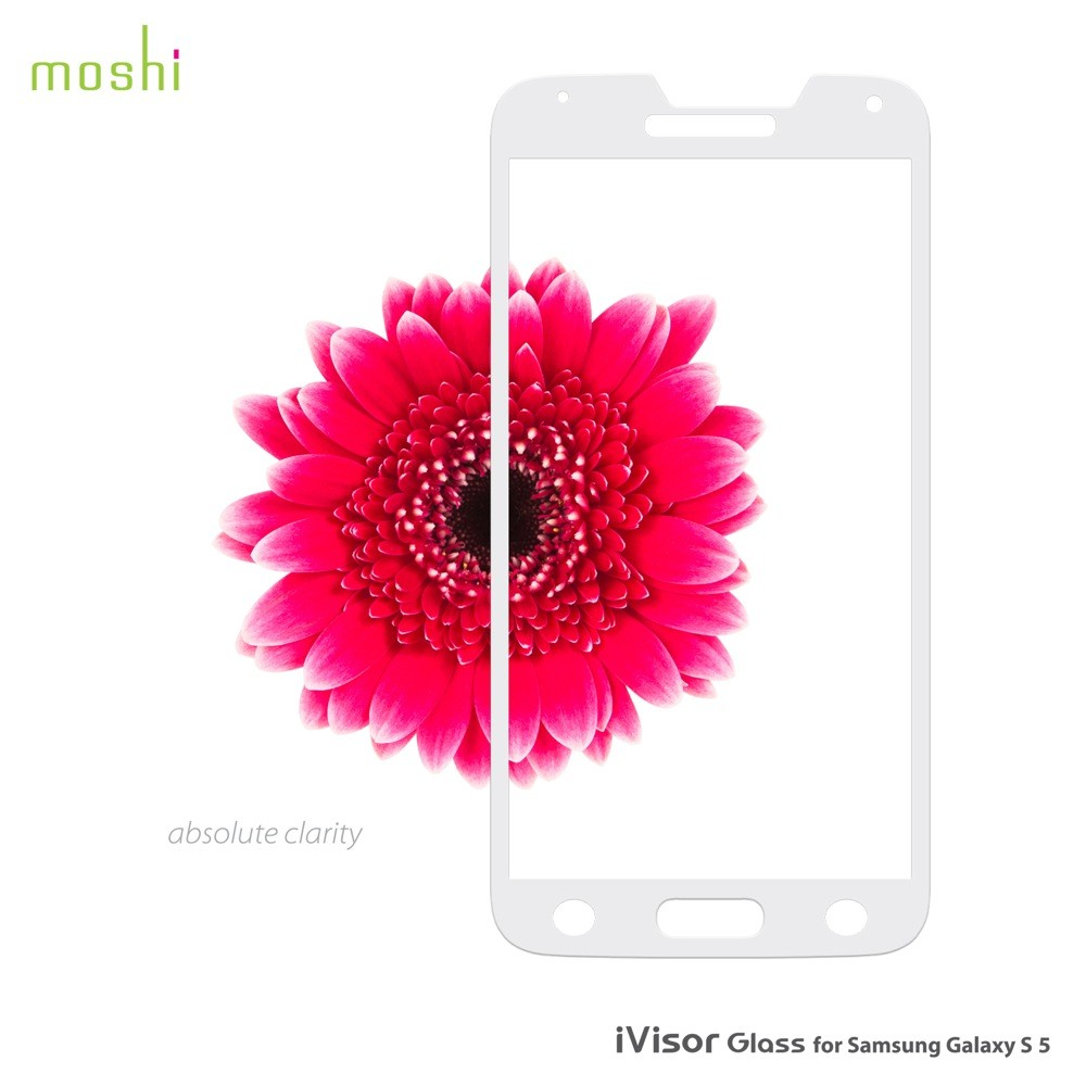 Moshi iVisor Glass Screen Protector for Samsung Galaxy S5 - White, *M-GLASS-GS5-WH