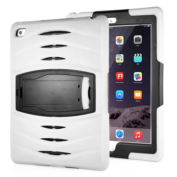 Shockproof Hybrid Stand Case for iPad Air 2 - White, IPD6-RUG-67840