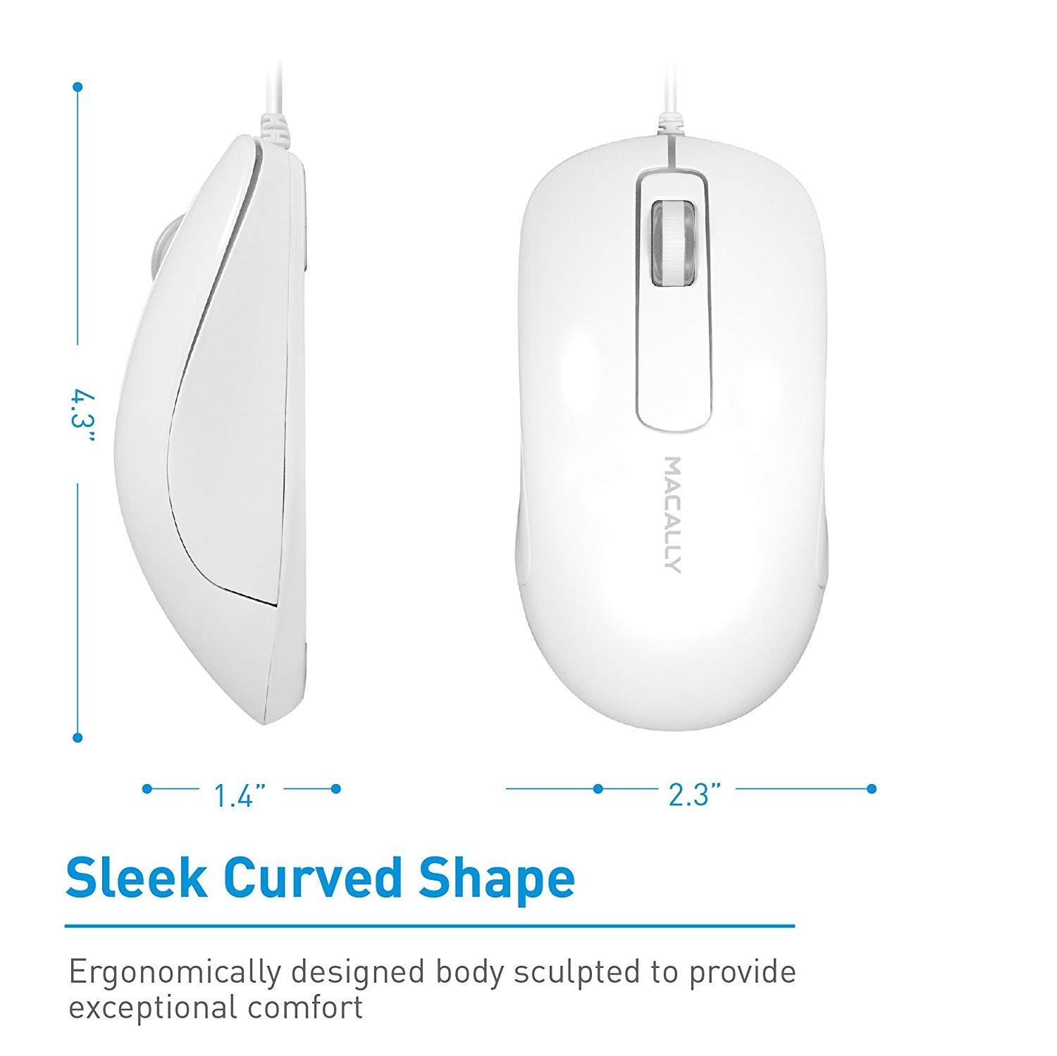 Macally 3-Button Optical USB Wired Computer Mouse with 5-Foot Cord, Compatible with PCs, Apple Macs, Desktops, Laptops - White, ICEMOUSE3